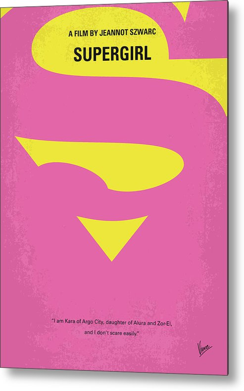 Supergirl Metal Print featuring the digital art No720 My Supergirl Minimal Movie Poster by Chungkong Art