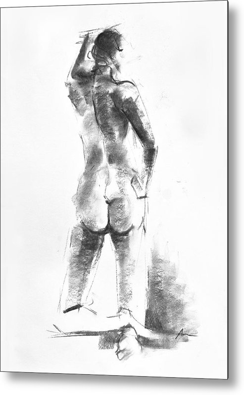 Nude Metal Print featuring the drawing Nude 44 by Ani Gallery