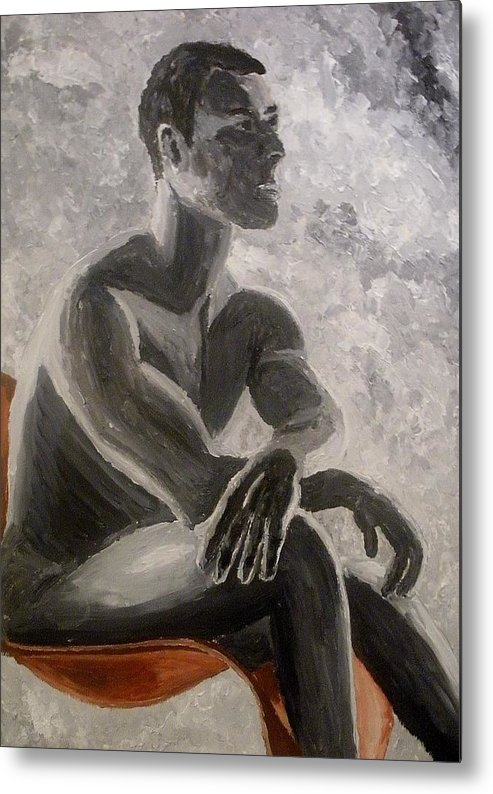 Grey Scale Metal Print featuring the painting On the red chair by Mats Eriksson