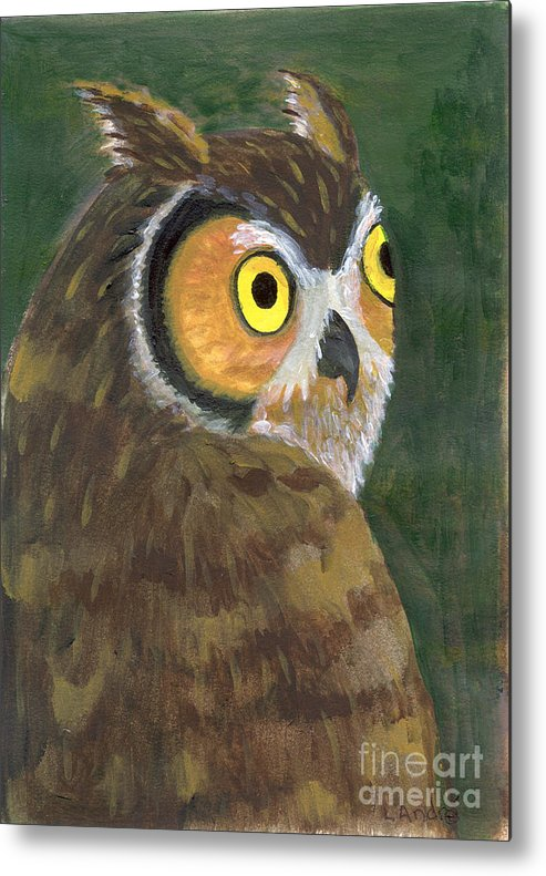 Owl Metal Print featuring the painting Owl 2009 by Lilibeth Andre