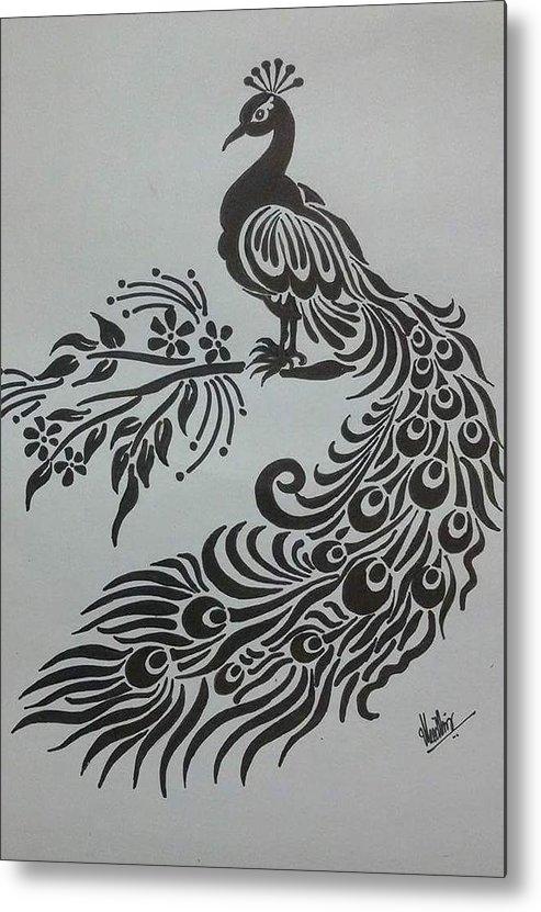 Pencil Sketch Of Peacock Metal Print By Kanaga Rajesh