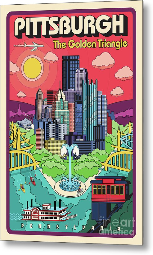 Pittsburgh Metal Print featuring the digital art Pittsburgh Poster - Pop Art - Travel by Jim Zahniser