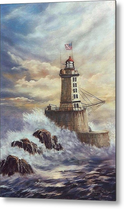 Lighthouse Metal Print featuring the painting Point St. George Reef Lighthouse by Lynne Parker