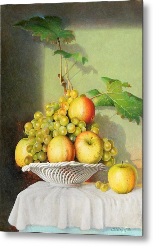 Giuseppe Mariotti Metal Print featuring the painting Porcelain Fruit Bowl by Giuseppe Mariotti