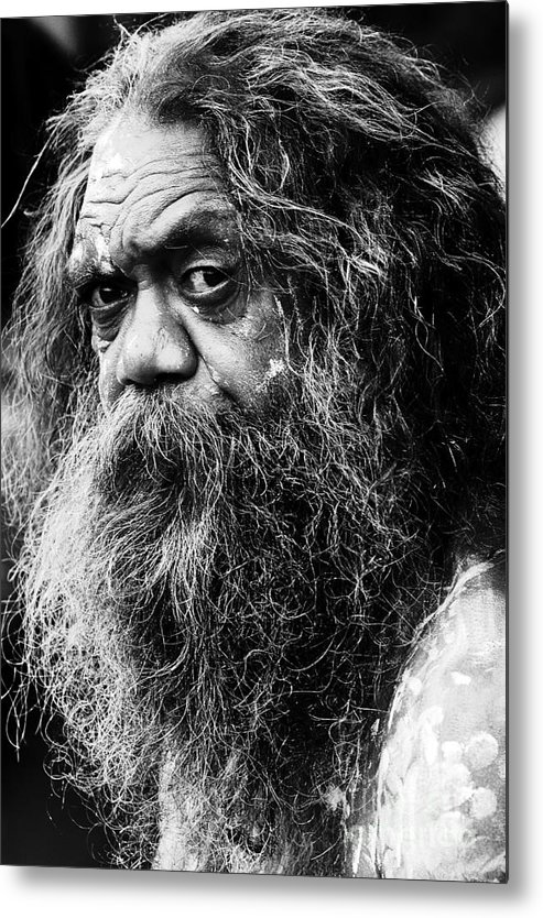 Aborigine Aboriginal Australian Metal Print featuring the photograph Portrait of an Australian aborigine by Sheila Smart Fine Art Photography