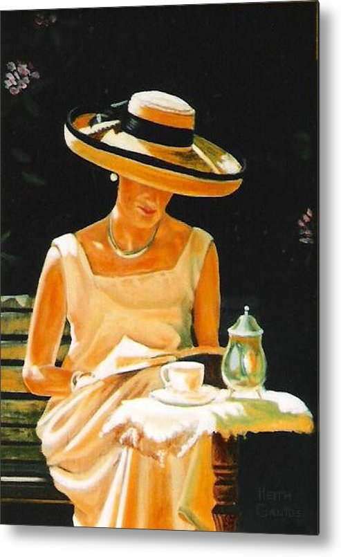 Tea Cup Metal Print featuring the painting Quiet time by Keith Gantos