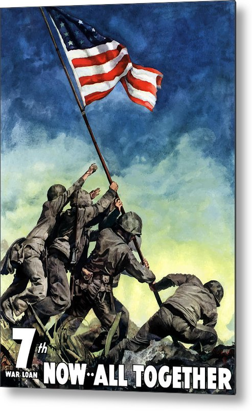 Iwo Jima Metal Print featuring the painting Raising The Flag On Iwo Jima by War Is Hell Store