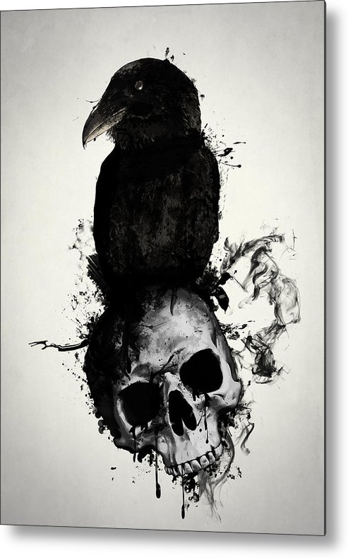 Raven Metal Print featuring the mixed media Raven and Skull by Nicklas Gustafsson