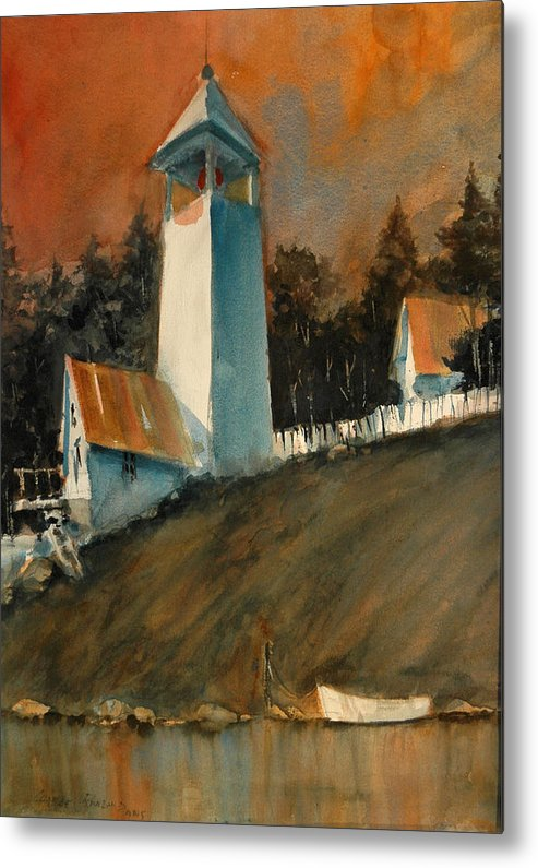 Lighthouse Metal Print featuring the painting Red Sky at Mprning... by Charles Rowland