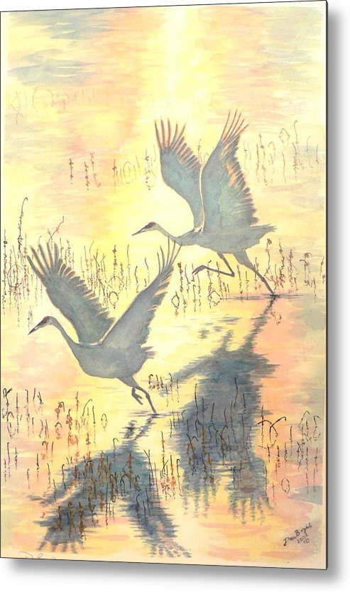 Cranes Taking Flight Metal Print featuring the painting Sandhill Cranes by Dan Bozich