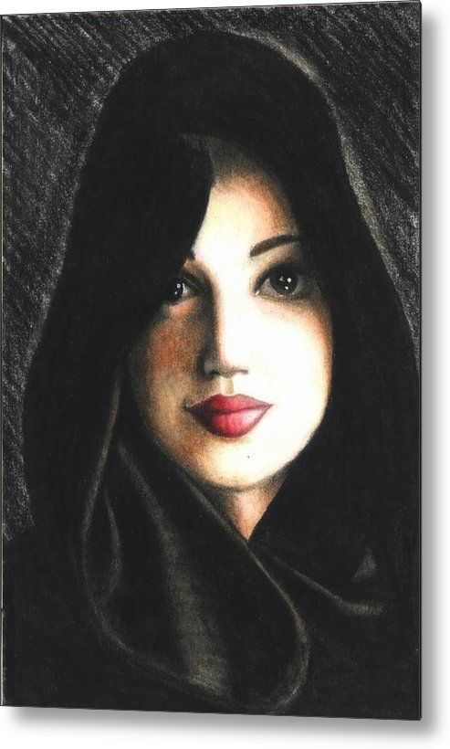 Portrait Metal Print featuring the drawing Self Portrait in Cape by Scarlett Royal