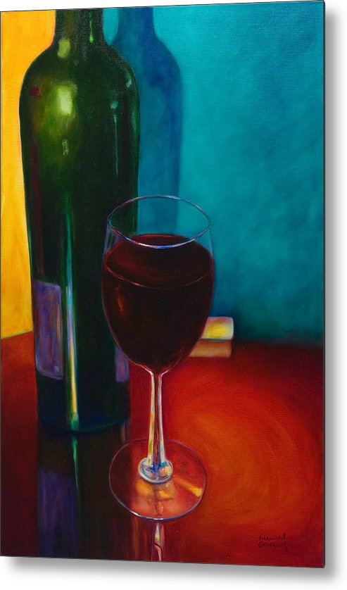 Wine Bottle Metal Print featuring the painting Shannon's Red by Shannon Grissom