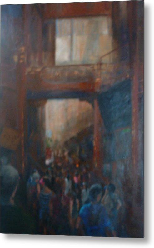 Figureative Metal Print featuring the painting Shopping in Shanghai by Bryan Alexander