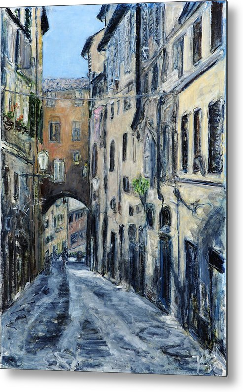 Cityscape Siena Italy Archway Street Houses Metal Print featuring the painting Siena Porta by Joan De Bot