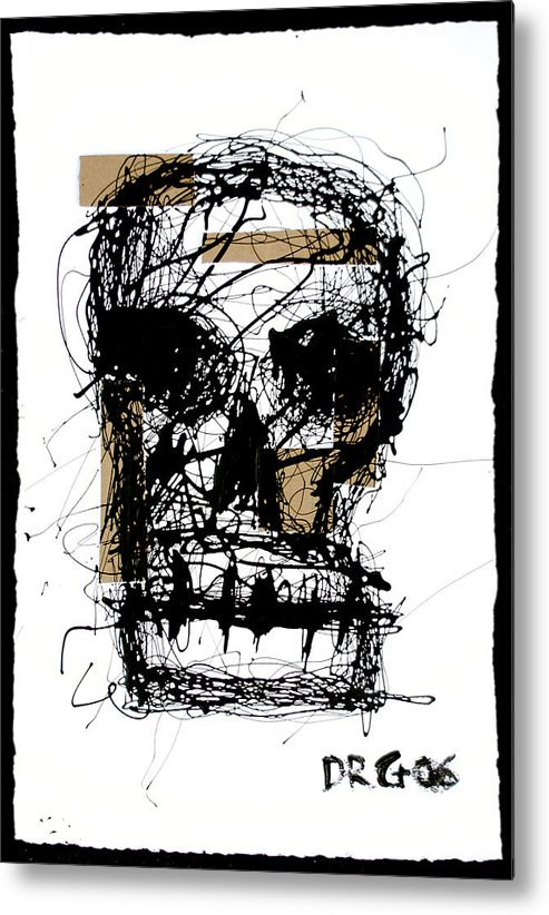 Abstract Metal Print featuring the painting Skull by Dmitry Gubin
