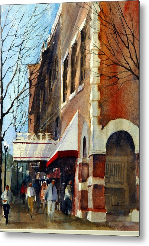 Westerville Metal Print featuring the painting State Theater, Westerville, Ohio by Charles Rowland
