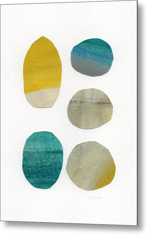 Abstract Art Metal Print featuring the mixed media Stones- abstract art by Linda Woods