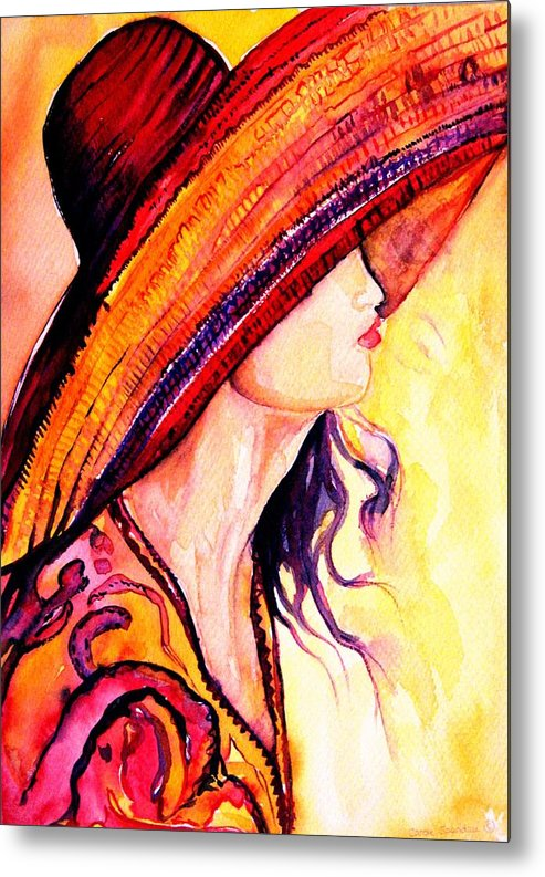 Elegant Lady Metal Print featuring the painting Summer Hat by Carole Spandau