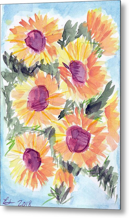 Sunflowers Metal Print featuring the painting Sunflowers in blue by Loretta Nash