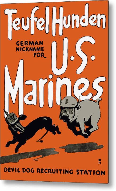 Marine Corps Metal Print featuring the painting Teufel Hunden - German Nickname For US Marines by War Is Hell Store