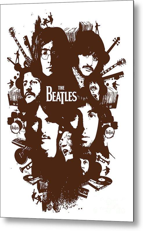 The Beatles Metal Print featuring the digital art The Beatles No.15 by Geek N Rock