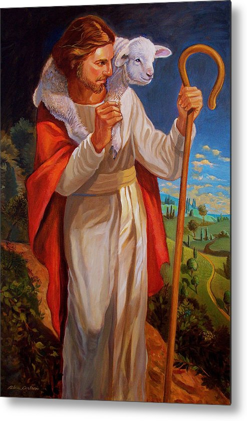Jesus Painting As Shepherd With Lamb Metal Print featuring the painting The Good Shepherd by Alan Carlson