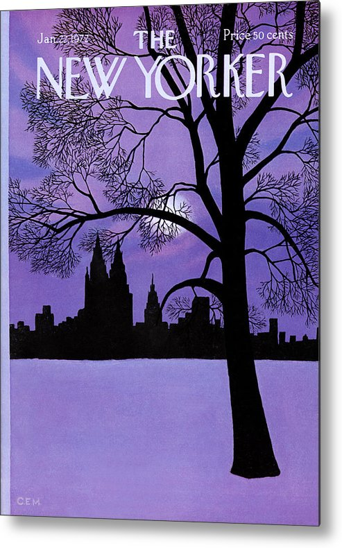 Color Metal Print featuring the painting The New Yorker Cover - January 22nd, 1972 by Charles E Martin