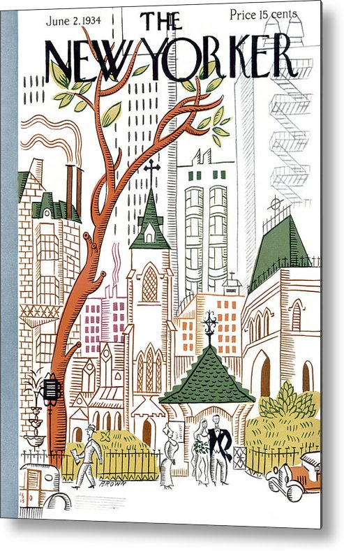 City Metal Print featuring the painting New Yorker June 2, 1934 by Harry Brown