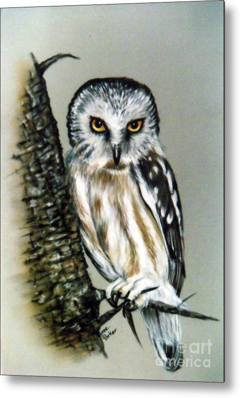 Owl Metal Print featuring the painting The Owl Heres looking at you by Lynne Parker