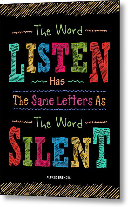 Inspirational Quote Metal Print featuring the digital art The Word Listen Motivational Quotes poster by Lab No 4