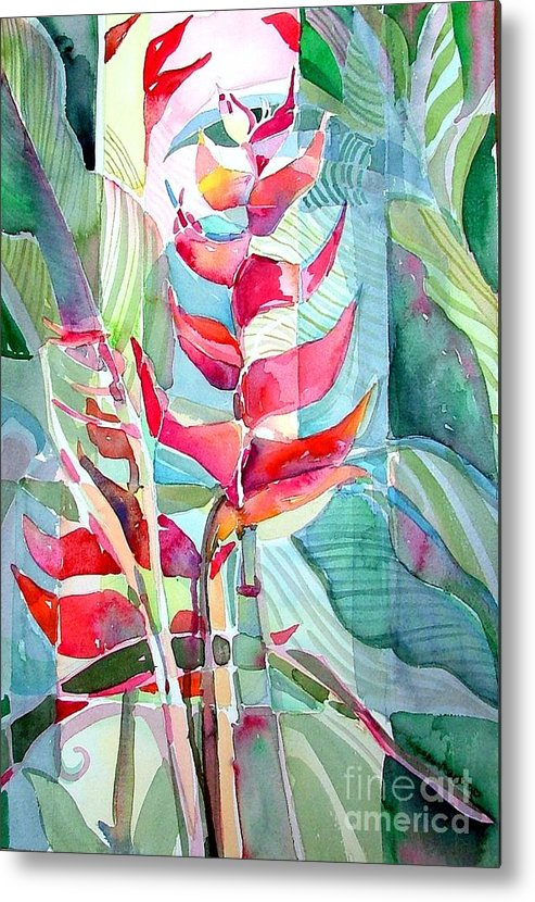 Landscape Metal Print featuring the painting Tropicana Red by Mindy Newman