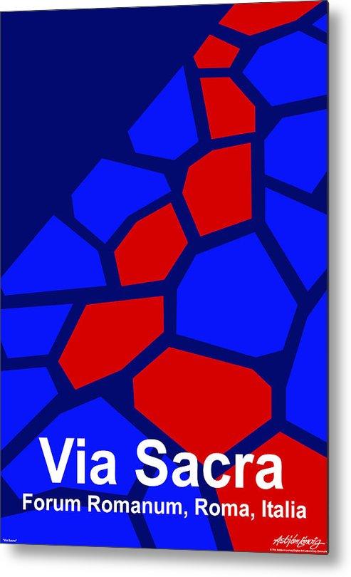 Via Sacra Metal Print featuring the digital art Via Sacra - Text by Asbjorn lonvig