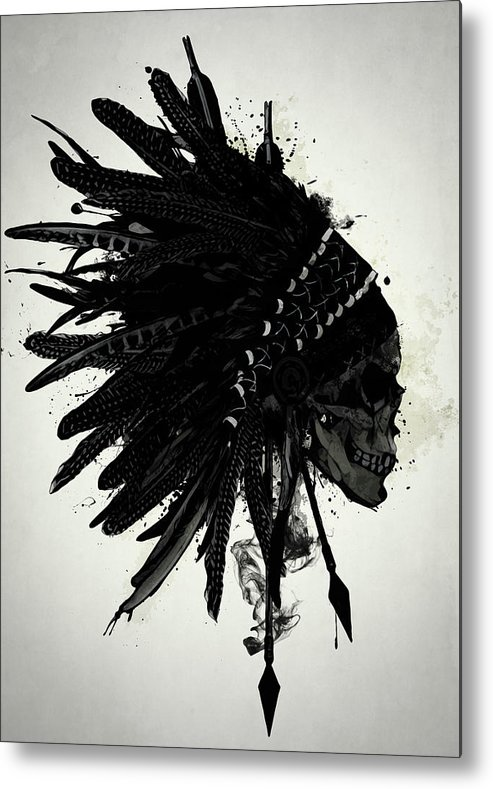 Indian Metal Print featuring the digital art Warbonnet Skull by Nicklas Gustafsson