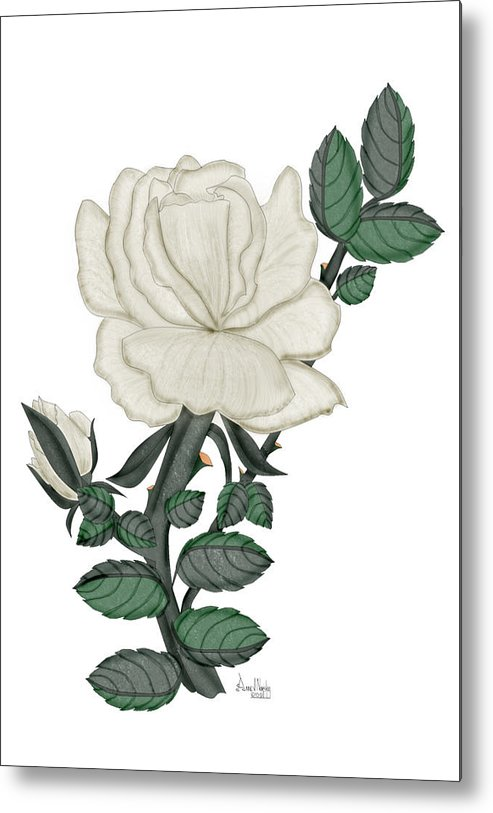 White Rose Metal Print featuring the painting White Rose on a Winter Day by Anne Norskog