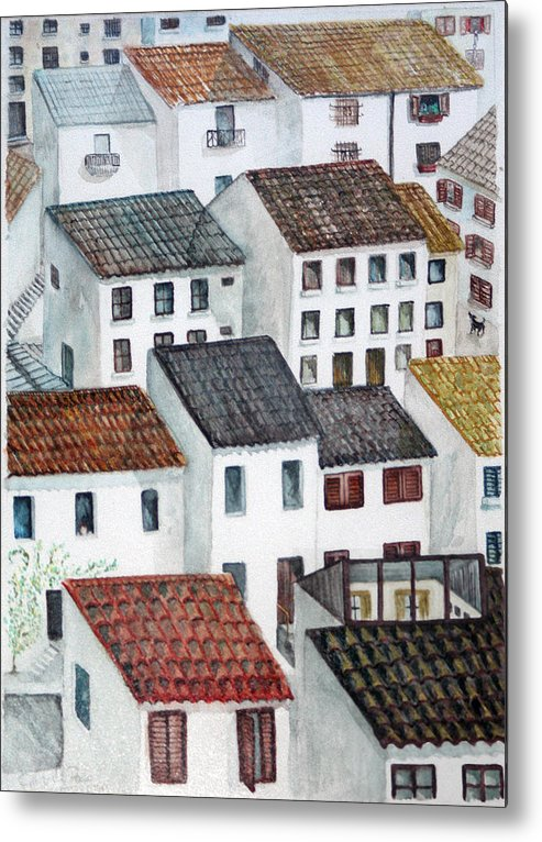 Watercolour Metal Print featuring the painting Windows by Gaile Griffin Peers