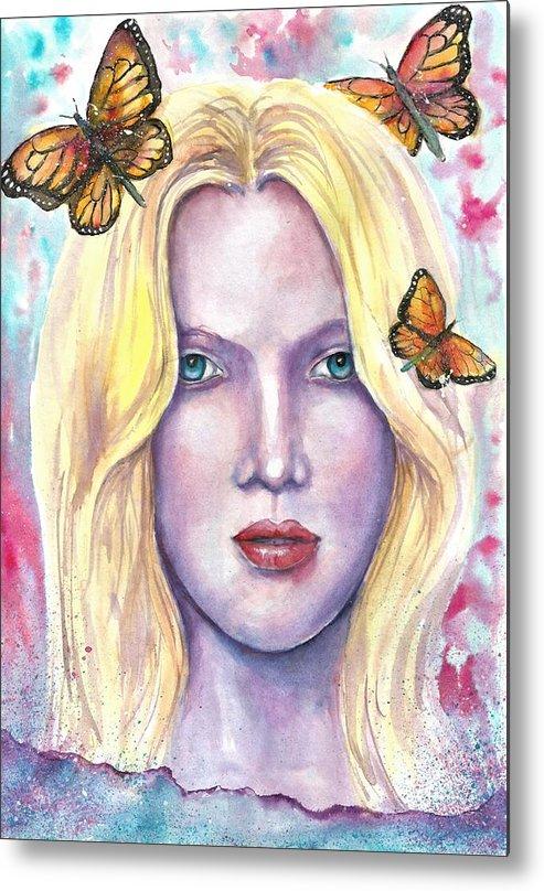 Original Painting Metal Print featuring the painting Women Face beauty by Natalja Picugina