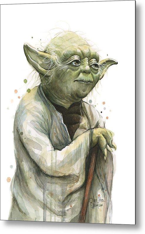 Yoda Metal Print featuring the painting Yoda Watercolor by Olga Shvartsur