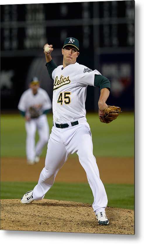 Ninth Inning Metal Print featuring the photograph Cleveland Indians V Oakland Athletics - by Thearon W. Henderson