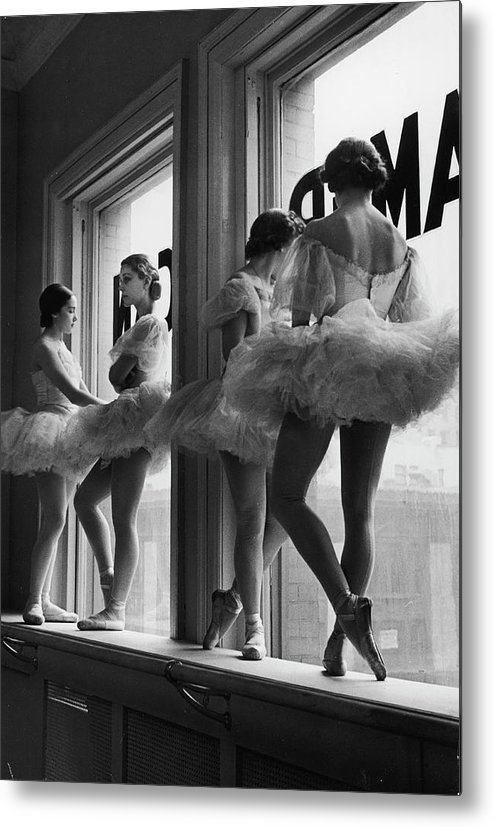 Ballet Dancer Metal Print featuring the photograph Ballerinas Standing On Window Sill In by Alfred Eisenstaedt