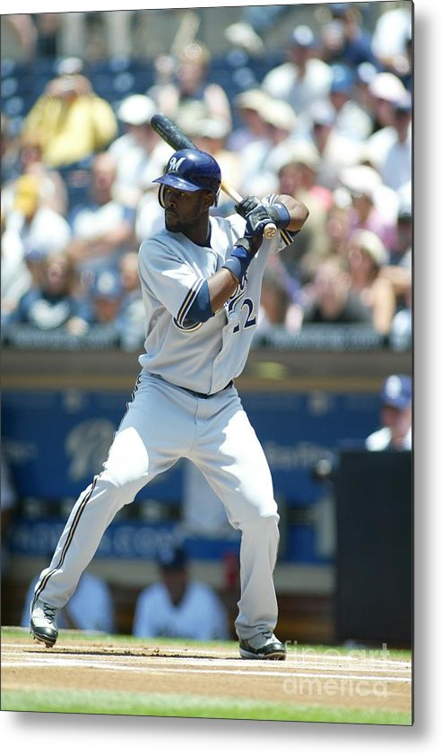 Tony Gwynn Jr. Metal Print featuring the photograph Milwaukee Brewers V San Diego Padres by Rob Leiter
