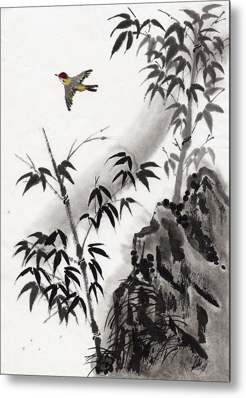 Scenics Metal Print featuring the digital art A Bird And Bamboo Leaves, Ink Painting by Daj