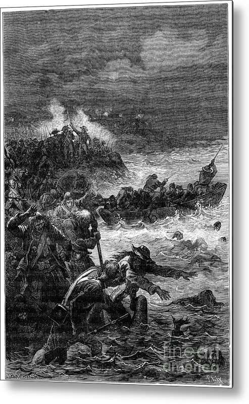Drowning Metal Print featuring the drawing Battle Of Quiberon, 1898. Artist Barbant by Print Collector
