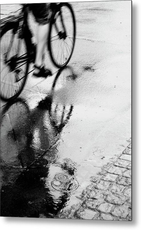 People Metal Print featuring the photograph Bicycle On Street by Katja Kircher