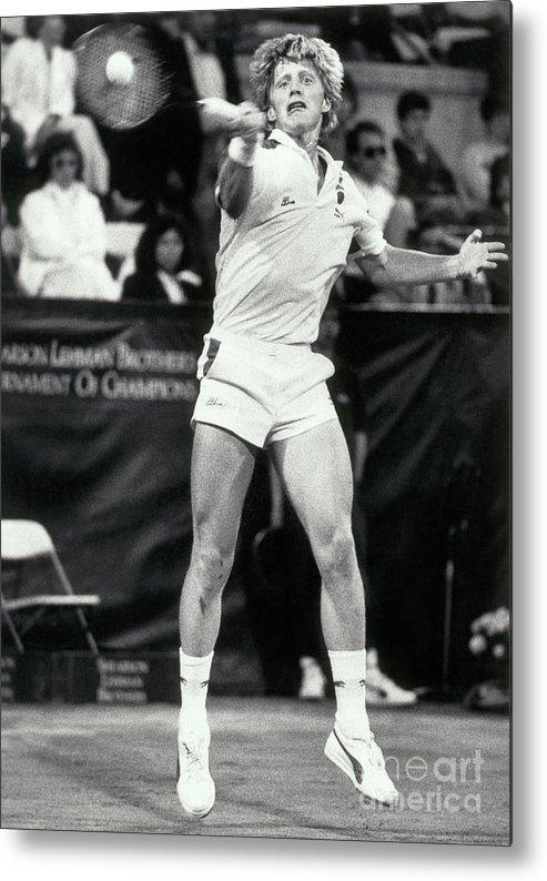 1980-1989 Metal Print featuring the photograph Boris Becker Hitting Return Shot by Bettmann