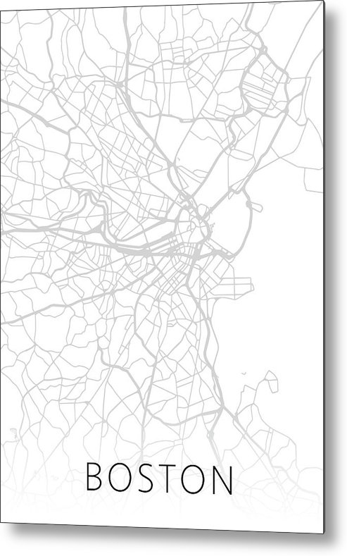Boston Metal Print featuring the mixed media Boston Massachusetts City Street Map Black And White Minimalist Series by Design Turnpike