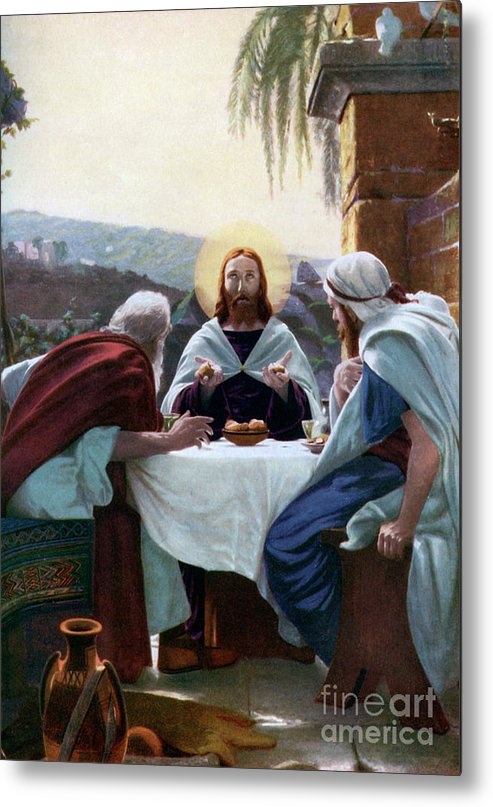 West Bank Metal Print featuring the drawing Breaking Of Bread At Emmaus, 1926 by Print Collector