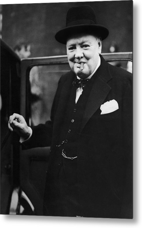 Winston Churchill - Prime Minister Metal Print featuring the photograph Churchill Resigns by Keystone
