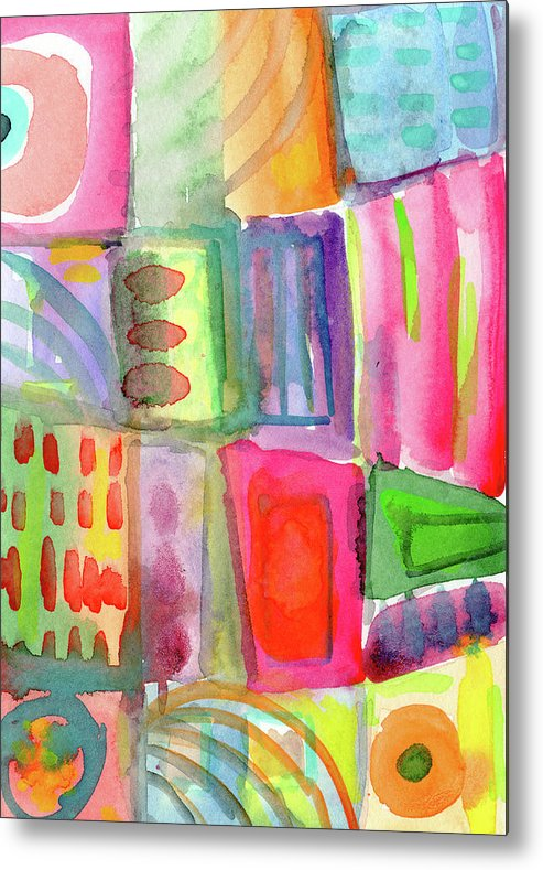 Colorful Metal Print featuring the painting Colorful Patchwork 2- Art by Linda Woods by Linda Woods