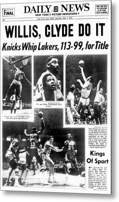 Nba Pro Basketball Metal Print featuring the photograph Daily News Back Page Dated May 9, 1970 by New York Daily News Archive
