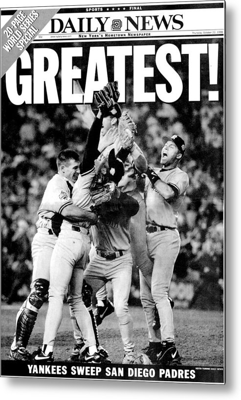 American League Baseball Metal Print featuring the photograph Daily News Front Page Wrap Dated Oct by New York Daily News Archive